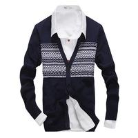a3ag 2014 new arrival  men's sweaters men winter sweater pullover  men fashion Slim black white contrast v neck cotton 3 colors