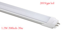 """A"" level, Top brightness ,SMD 2835 20W 120CM 200LEDS 2200LM T8 LED Tube,30pcs/lots,wam/pure white"