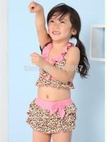 Children swimwear BEACH BABY girl swimwear swimsuit bikini zebra print suit leopard split high quality 10set
