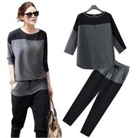 (LST010) 2014 Fashion Loose Plus Size Trousers Twinset Casual Suit Half-Sleeve Sports Set Female L, M, S, XL, XXL,XXXL, XXXXL
