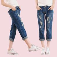 Casual trousers solid color fabric nostalgic women's harem pants denim trousers