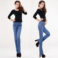 Spring 2014 women's elastic butt-lifting mid waist bell bottom jeans long slim pants