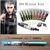 Wholesale 2014 hot CE4 atomizer eGo electronic cigarette porcelain Blister kits 650/900/1100mah battery free shipping( 1piece)