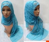 Flowers Elastic Lace Fashion Long Scarf Muslim Hijab Hat Bandanas  Cap Women Gift Accessory Shawl