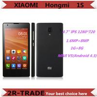 "Original Xiaomi Red Rice 1S WCDMA 4.7"" Xiaomi Hongmi 1S Redmi Quad Core Qualcomm 8mp Dual SIM Android 4.3  Miui V5 Mobile Phone"