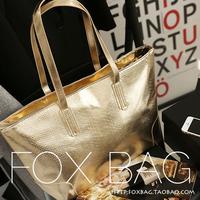 2014 Women's handbags brief leather shoulder bag silver crocodile pattern handbag Korean style woman fashion totes shopping bag