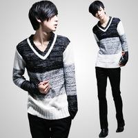 4ag 2014 new arrival casual men's V-neck sweaters men sweater tide  line sweetheart neckline  basic knitwear patchwork contrast