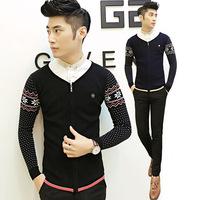 4ag 2014 new arrival Korean autumn winter with zipper men's cardigan sweater Men Slim mixed colors casual sweater thin coat