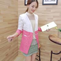 Free shipping! 2014 autumn fashion gentlewomen lace patchwork contrast color block suit coat! D33515