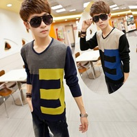 3ag 2014 new arrival fall winter men's V-neck sweaters men sweater Casual knitwear patchwork long sleeve