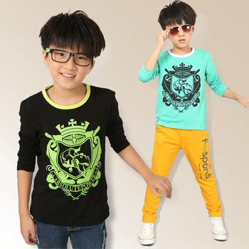 Мальчик тиранозавр принт футболка дети мальчики с длинным рукавом мода sprots т-shrits детская одежда для подростков оптовая продажа 4-12 лет