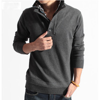 a3ag 2014 new arrival Men's long sleeve pullover sweaters Slim Korean men false two knitted sweater turn down coller