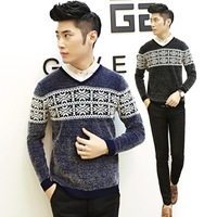 4ag 2014 new arrival men's winter mohair V -neck cotton sweaters men sweater men thickening Slim contrast knitwear