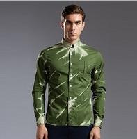 Men's Top Quality Denim Shirt European Fashion Plus Size Autumn & Winter 2014 Army Green Scratch Blusa Camisa Jeans de Masculino