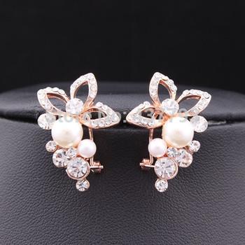 Jewelry 18K Золото Plated Горный хрусталь Pearl Flower Grape Stud Earrings E151