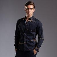 Men's Top Quality Denim Shirt European Fashion Plus Size Autumn & Winter 2014 100% Cotton Dark Blue Blusa Camisa Jeans Masculino