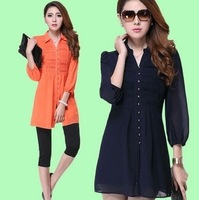 free shipping ! 2014 new arrival women's big size clothing M,L,XL,3XL,4XL,5XL female chiffon v-neck shirt girl's formal blouse