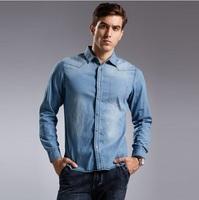 Men's Top Quality Denim Shirt European Fashion Plus Size Autumn & Winter 2014 Cotton Fake Pocket Blusa Camisa Jeans de Masculino