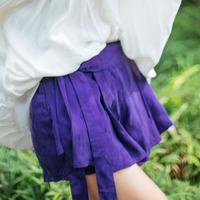 [LYNETTE'S CHINOISERIE - MOK ] Summer Original Design Women Pleated Loose Casual Bow-tie Belt Denim Cotton Shorts Sz S M L