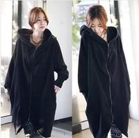 free shipping ! women's big size clothing female autumn-winter batwing cardigans girl's solid long sweatshirt