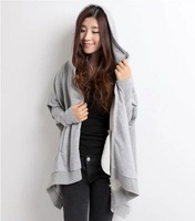 free shipping ! women's autumn winter plus size clothing female fashion batwing hoodies girl's cotton loose cardigans