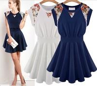 free shipping ! 2014 European and Amercian Style sleeveless dress female lcae knitted cotton dress girl's summer sweet dress