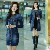 free shipping ! women's denim trench female pockets long coat girl's slim clothing for spring or autumn
