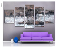 5 panel wall decor modern art set Extremely Innovative Abstract The waves of Lake hand painted Oil Painting on Canvas