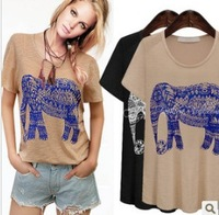free shipping ! women's plus size clothing XL,XXL,3XL,4XL 2014 female summer upperwear print loose short-sleeve cotton t-shirt