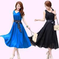 2014 summer bohemia beach dress expansion bottom full dress fairy V-neck elegant sleeveless chiffon one-piece dress