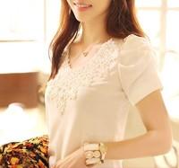 free shipping 2014  female summer short-sleeve cotton T-shirt  girl's lace T shirt women's plus size clothing S,M,L,XL,XXL,XXXL