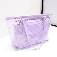 Transparent  2014 female summer candy color crystal beach shoulder handbag jelly bag
