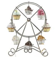 1set/lot Rotating Ferris Wheel Cake Holder 8 Cup Metal Cupcake Dessert Stand Display Party Tools 672369