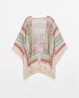 731Positioning printed Kimono no buckle three-quarter sleeves ladies cardigan female  fringed  shawl