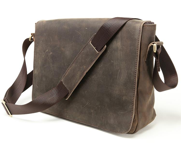 Guaranteed Crazy Horse Leather Men's Briefcase men