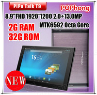 PiPO T9 MTK6592 Octa Core 3G Phone Call Tablets 8.9 inch 1920*1200 GPS 2G/32G OTG 13MP