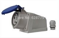waterproof IP44 wall socket industrial socket E-123B 3 PIN 32A 230V