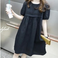 free shipping ! 2014 girl's linen short sleeve dress female loose high waist dress ladie's casual dress