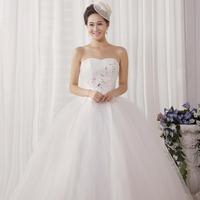 Free shipping ! On sale tube top wedding dress Pleat bride dress sweet princess formal dress