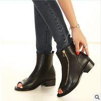 2014 autumn flat heel Roman sandals peep-toe cool boots high help shoes women's shoes B80-8-YDD