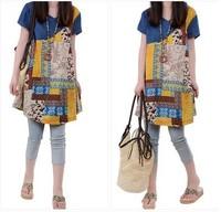 free shipping ! 2014 female summer loose dress women's big size high quality clothing girl's denim patchwork print dress