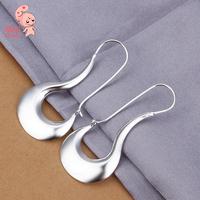 925 silver  fashion jewelry  beautiful earrings high quality flat smooth Round KUNIU