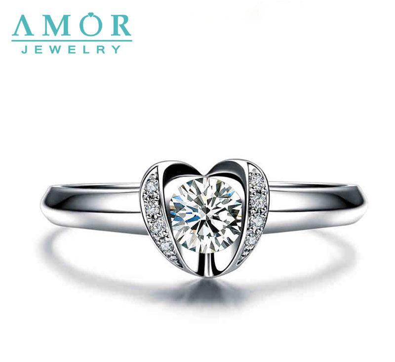 AMOR BRAND ENGRAVED KISS SERIES 0.2CT I/SI 100% NATURAL DIAMOND 2.0G 18K WHITE GOLD RING JEWELRY JBFZSJZ223(China (Mainland))