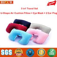 Inflatable Neck Air Cushion Pillow, 3 in1 Travel Set, U-Shape Air Cushion Pillow + Eye Mask + 2 Ear Plug