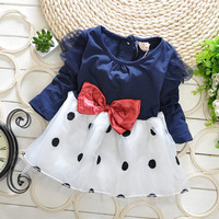 Free Shipping! Girls Newborn Baby Girls Dress Baby Clothing Toddler Long Sleeve Party Infant Dress with Polka Dots