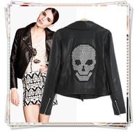 2014 New Fashion Women Winter Brand Faux Motorcycle Leather Jacket Short Coat Turn-down Collar Pocket Zipper CZ Diamond Skulls