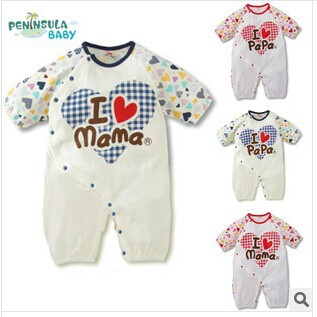 2014 New Baby romper sets long sleeve jumpsuits unisex boys girls cotton rompers Heart PAPA MAMA baby clothes free shipping(China (Mainland))