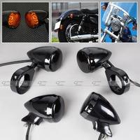 4x Black Front Rear Motorcycle LED Turn Signal Light 41mm Fork Clamp For Harley Davidson Sportster  Dyna  Bobber  MP014