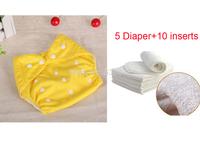 Hot 5 pcs Baby Adjustable Diaper +10 pcs Nappy Insert Washable Reusable Cloth Nappy Diaper 7 Colors snap Waterproof diaper Nappy