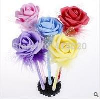 Wholesale 36Pcs/lot  Promotional Gift  Adorable Children Gift  Colorful Rose Flower  Ball Pen Kids Fancy School Supplies